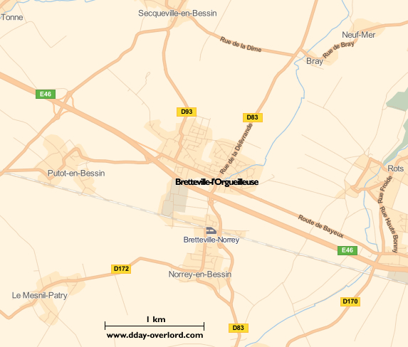 Image : carte du secteur de Bretteville-l'Orgueilleuse - Bataille de Normandie en 1944