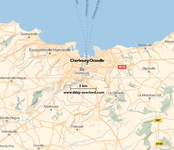 Image : carte du secteur de Cherbourg - Bataille de Normandie en 1944