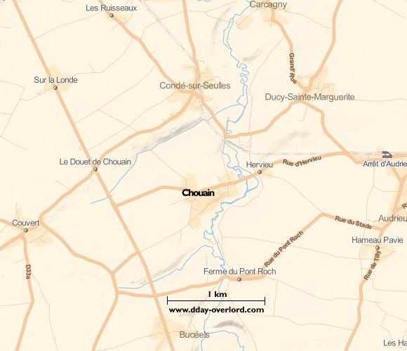 Image : carte du secteur de Chouain - Bataille de Normandie en 1944