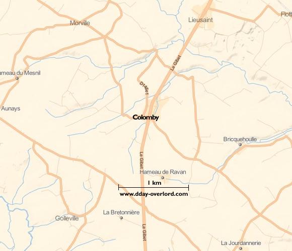 Image : carte du secteur de Colomby - Bataille de Normandie en 1944