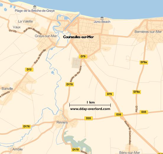 Image : carte du secteur de Courseulles-sur-Mer - Bataille de Normandie en 1944