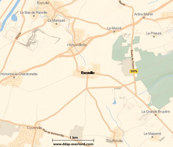 Image : carte du secteur de Escoville - Bataille de Normandie en 1944