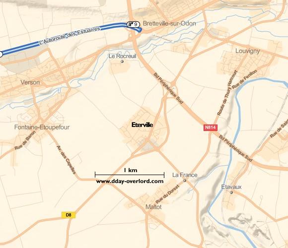 Image : carte du secteur de Eterville- Bataille de Normandie en 1944