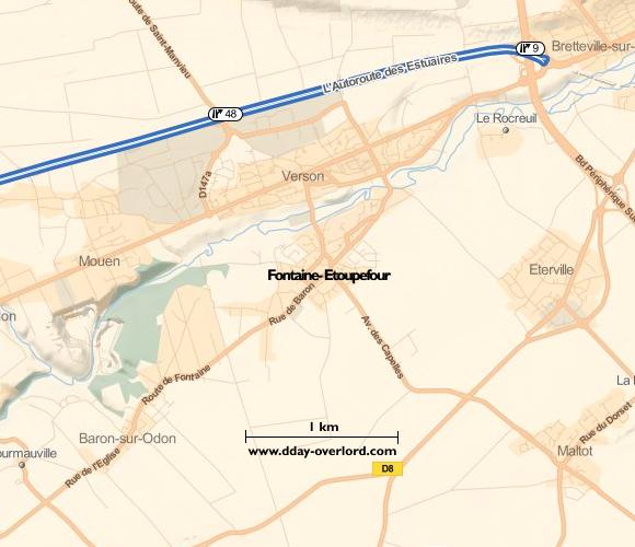 Image : carte du secteur de Fontaine-Etoupefour- Bataille de Normandie en 1944