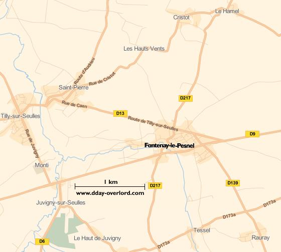 Image : carte du secteur de Fontenay-le-Pesnel - Bataille de Normandie en 1944