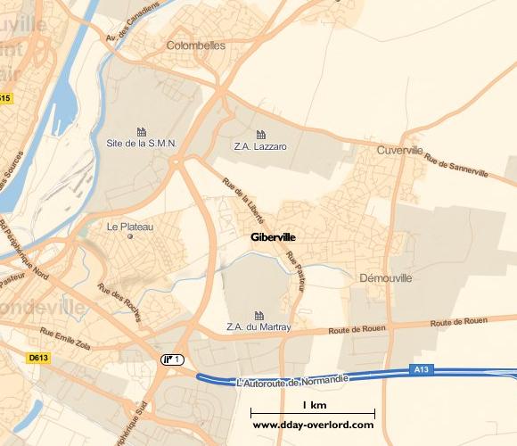 Image : carte de la commune de Giberville