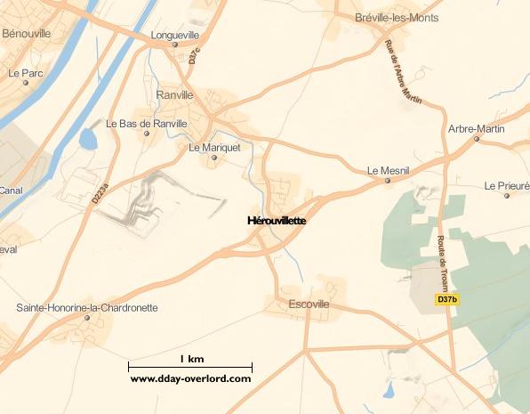 Image : carte du secteur de Hérouvillette - Bataille de Normandie en 1944