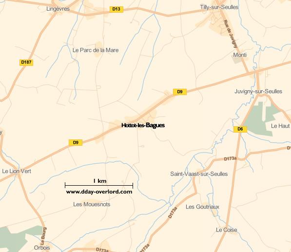 Image : carte du secteur de Hottot-les-Bagues - Bataille de Normandie en 1944
