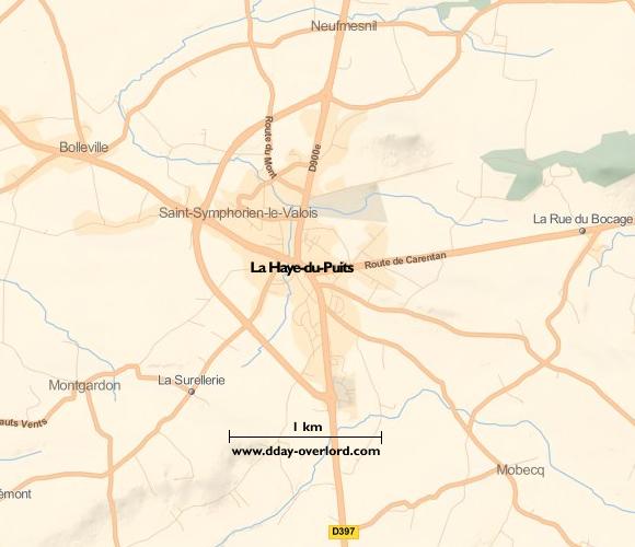Image : carte du secteur de La Haye-du-Puits - Bataille de Normandie en 1944