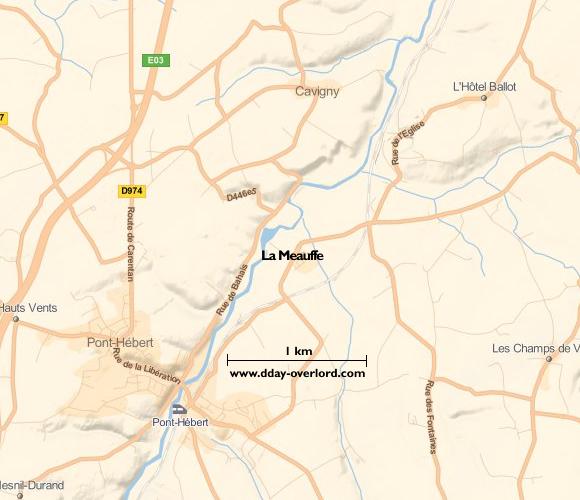 Image : carte du secteur de La Meauffe - Bataille de Normandie en 1944