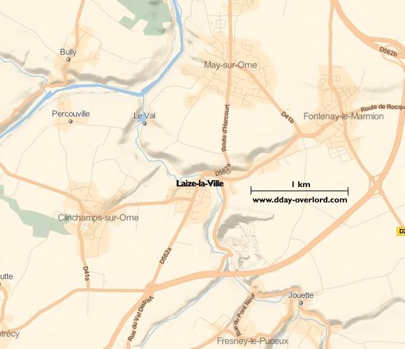Image : carte de la commune de Laize-la-Ville