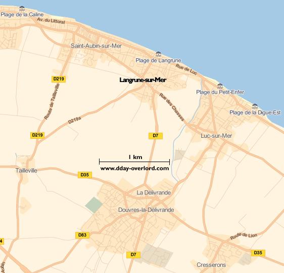 Image : carte du secteur de Langrune-sur-Mer - Bataille de Normandie en 1944