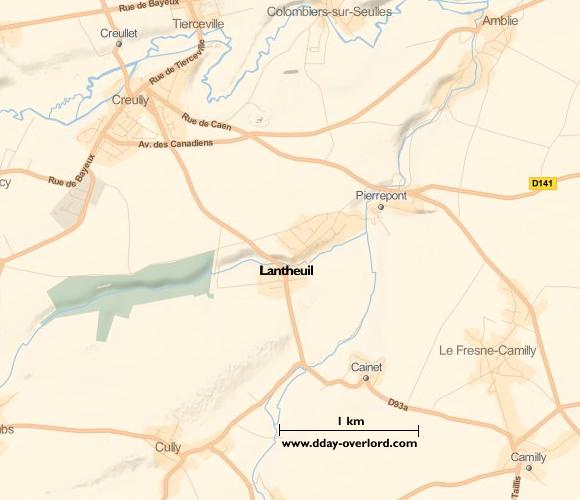 Image : carte du secteur de Lantheuil - Bataille de Normandie en 1944
