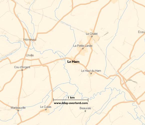 Image : carte du secteur de Le Ham - Bataille de Normandie en 1944