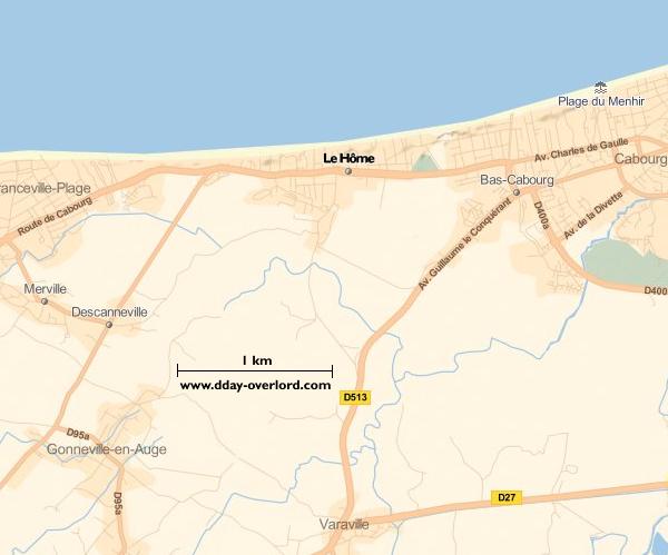 Image : carte du secteur de Le Hôme - Bataille de Normandie en 1944