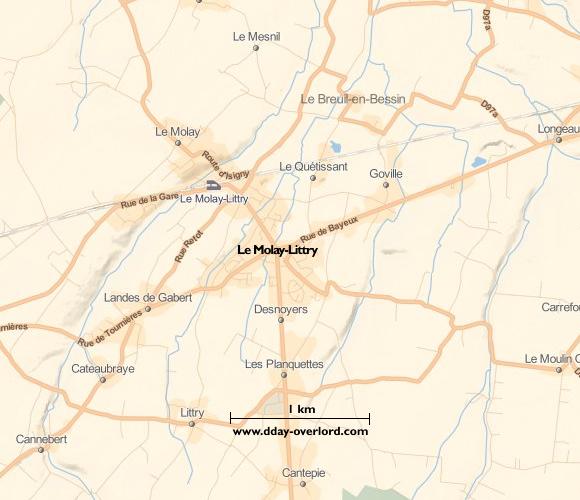 Image : carte du secteur de Le Molay-Littry - Bataille de Normandie en 1944