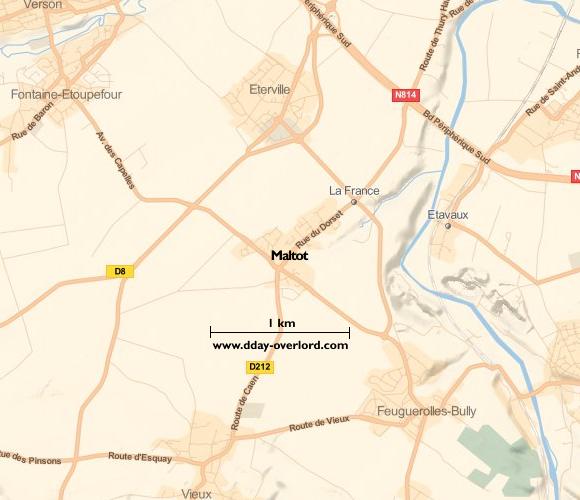 Image : carte du secteur de Maltot- Bataille de Normandie en 1944