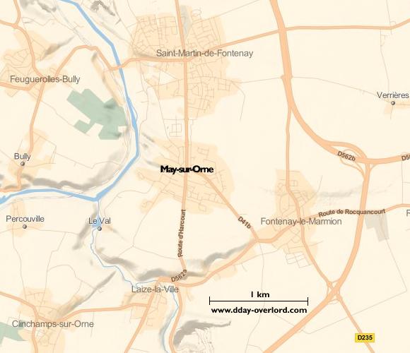 Image : carte de la commune de May-sur-Orne