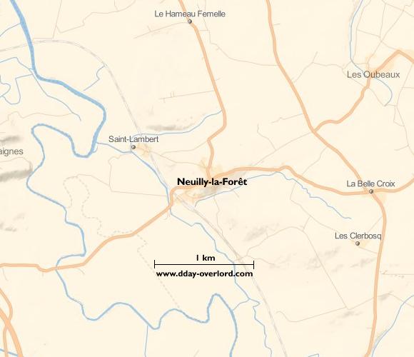 Image : carte du secteur de Neuilly-la-Forêt - Bataille de Normandie en 1944