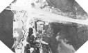 Image : Une vue aérienne du pont de Bénouville prise le 6 juin à 6 heures du matin montrant 3 des 6 planeurs