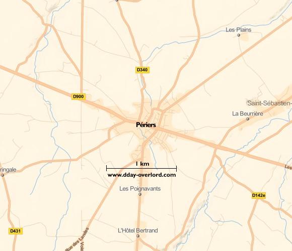Image : carte du secteur de Périers - Bataille de Normandie en 1944