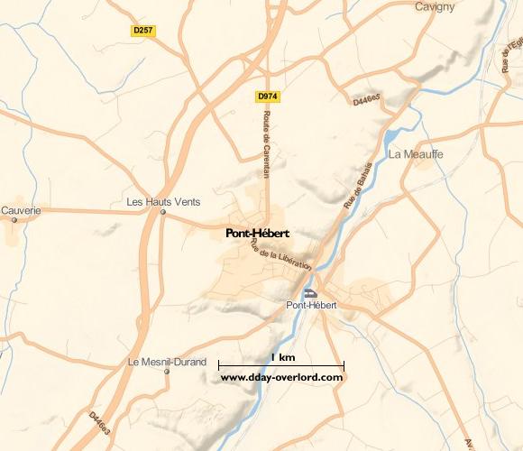 Image : carte du secteur de Pont-Hébert - Bataille de Normandie en 1944