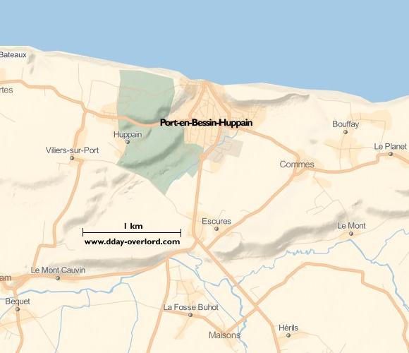Image : carte du secteur de Port-en-Bessin - Bataille de Normandie en 1944