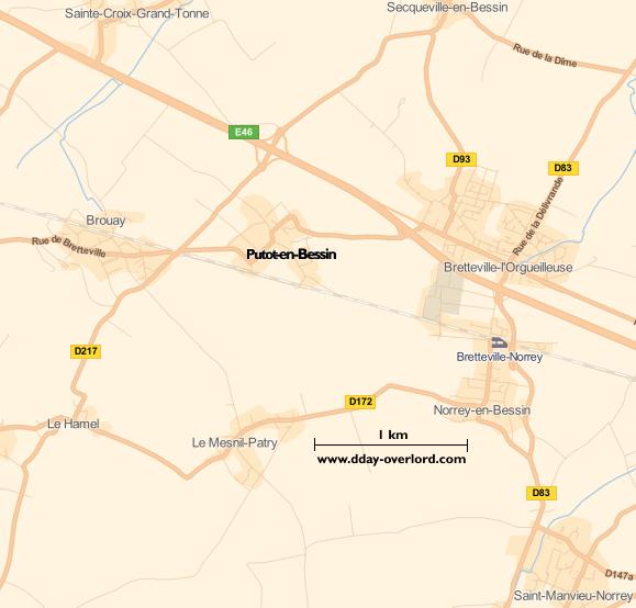 Image : carte du secteur de Putot-en-Bessin - Bataille de Normandie en 1944