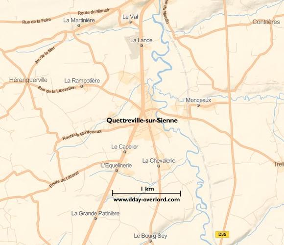 Image : carte du secteur de Quettreville-sur-Sienne - Bataille de Normandie en 1944