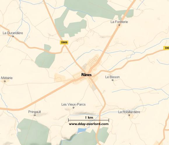 Image : Carte de Rânes dans l'Orne