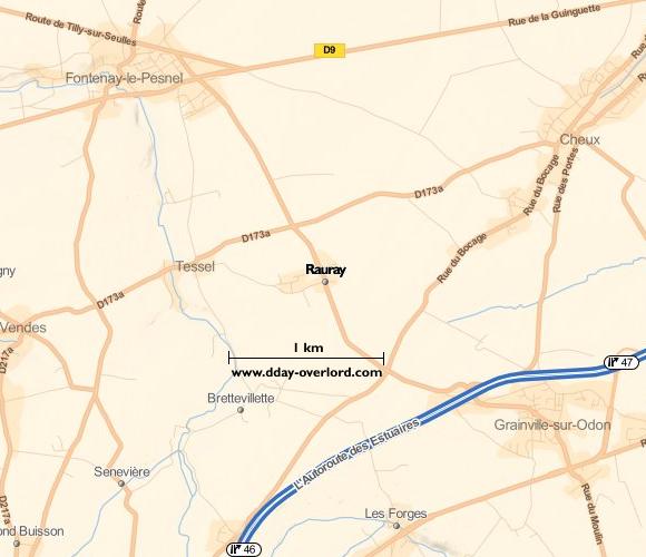 Image : carte du secteur de Rauray - Bataille de Normandie en 1944