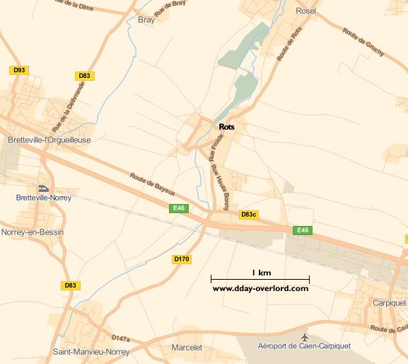 Image : carte du secteur de Rots - Bataille de Normandie en 1944