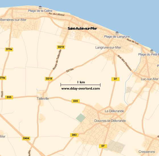 Image : carte du secteur de Saint-Aubin-sur-Mer - Bataille de Normandie en 1944