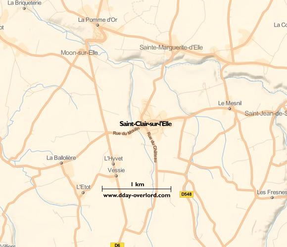Image : carte du secteur de Saint-Clair-sur-l'Elle - Bataille de Normandie en 1944