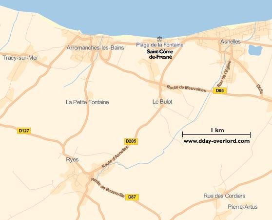 Image : carte du secteur de Saint-Côme-de-Fresné - Bataille de Normandie en 1944