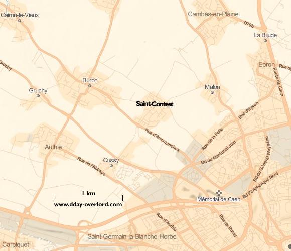 Image : Carte de Saint-Contest dans le Calvados