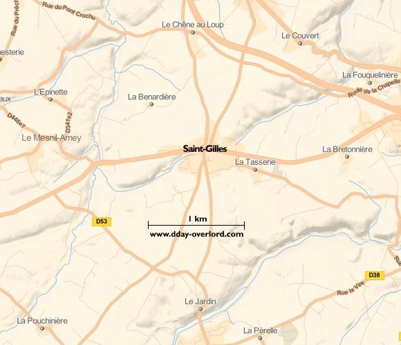 Image : carte du secteur de Saint-Gilles - Bataille de Normandie en 1944