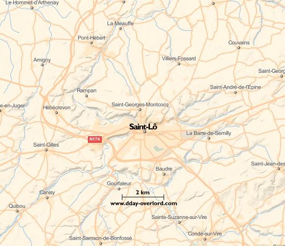 Image : carte du secteur de Saint-Lô - Bataille de Normandie en 1944