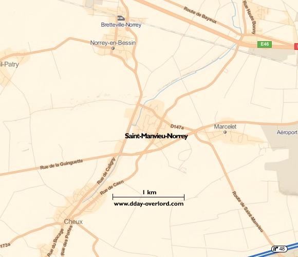 Image : carte du secteur de Saint-Manvieu-Norrey - Bataille de Normandie en 1944