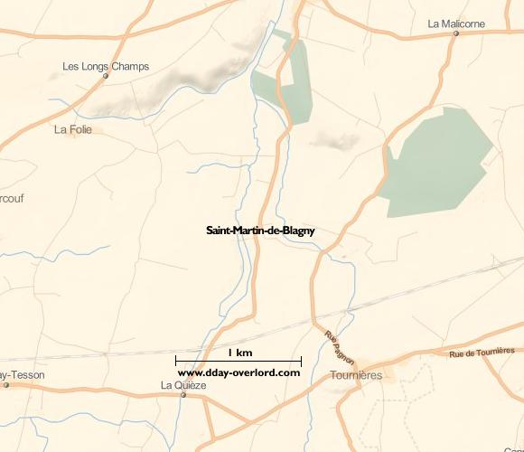Image : carte du secteur de Saint-Martin-de-Blagny - Bataille de Normandie en 1944