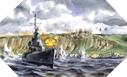 Image : Peinture de Dwight C. Shepler représentant l'USS Emmons et l'USS Doyle au second plan, le 6 juin 1944 devant Port-en-Bessin