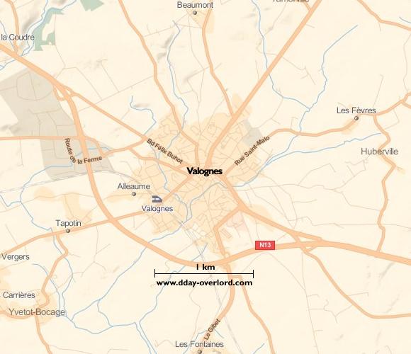 Image : carte du secteur de Valognes - Bataille de Normandie en 1944
