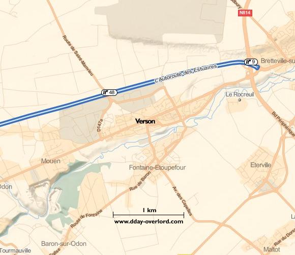 Image : carte du secteur de Verson- Bataille de Normandie en 1944