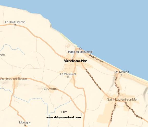 Image : carte du secteur de Vierville-sur-Mer - Bataille de Normandie en 1944