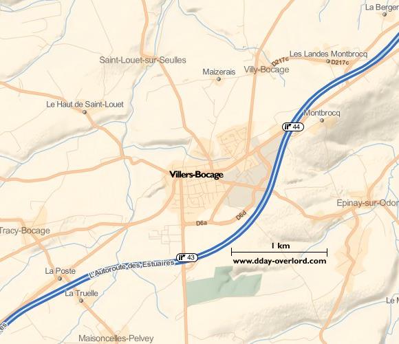 Image : carte du secteur de Villers-Bocage - Bataille de Normandie en 1944