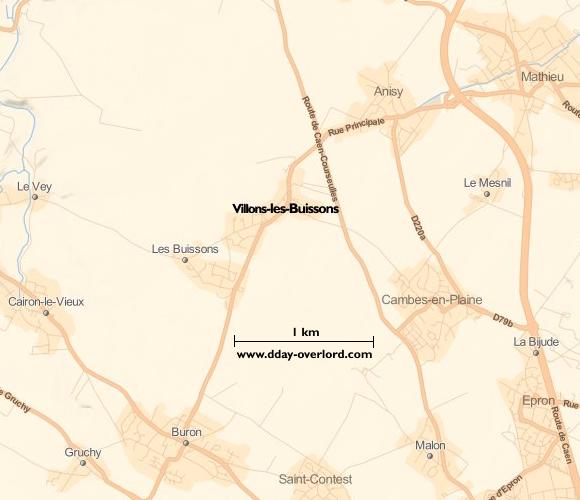 Image : Carte de Villons-les-Buissons dans le Calvados