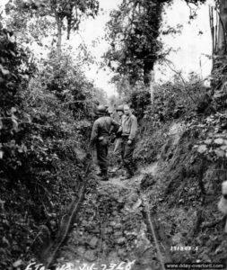 13 juillet 1944 : des sapeurs et des transmetteurs installent des câbles téléphoniques entre deux haies au nord de Saint-Lô. Photo : US National Archives