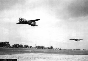 Takeoff of a C-47 towing an Horsa glider. Photo: US National Archives