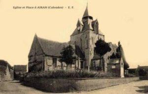Carte postale de l'église d'Airan avant la guerre.