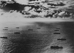Convoi allié dans l'Atlantique en 1942. Photo : US National Archives